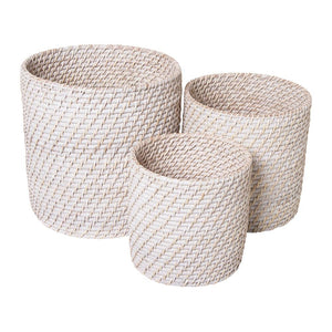 Pacifica Rattan Planters Set of 3 White Wash