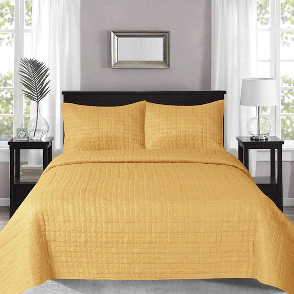 Prism Checks Quilted Coverlet with 2 Pillow Cases 240x260 cm Mustard