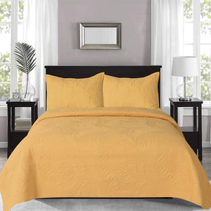 Gemini Leaf Quilted Coverlet with 2 Pillow Cases 240x260 cm Mustard