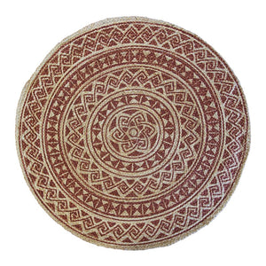 Kendra Printed Rug 120cm Round Burnt Orange/ Natural; ETA Mid December