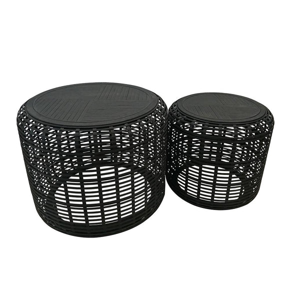 Brysen Set of 2 Tables 70.5x56.5/55.3x49cm Black