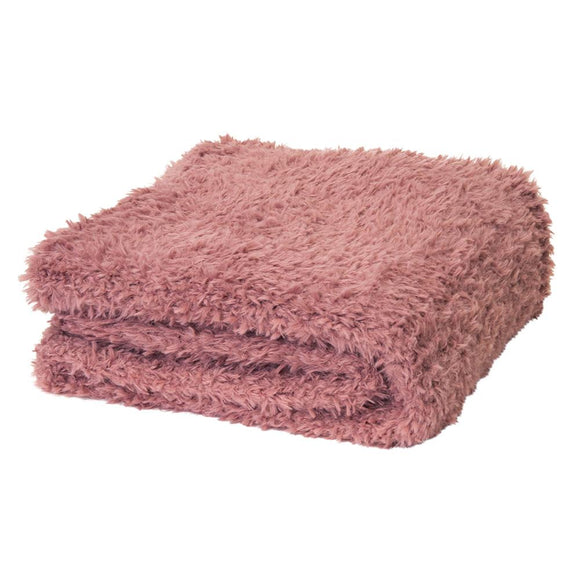 Eve Fur Knitted Throw 130x160cm Dusty Mauve