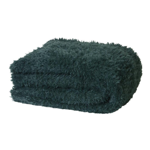 Eve Fur Knitted Throw 130x160cm Eden Green