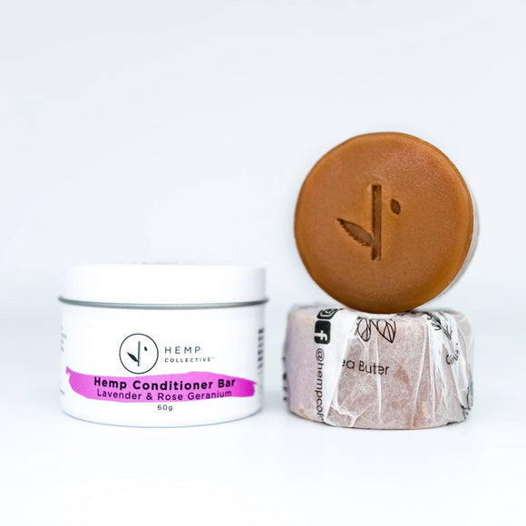 Hemp Collective Conditioner Bar - Lavender & Rose Geranium with tin