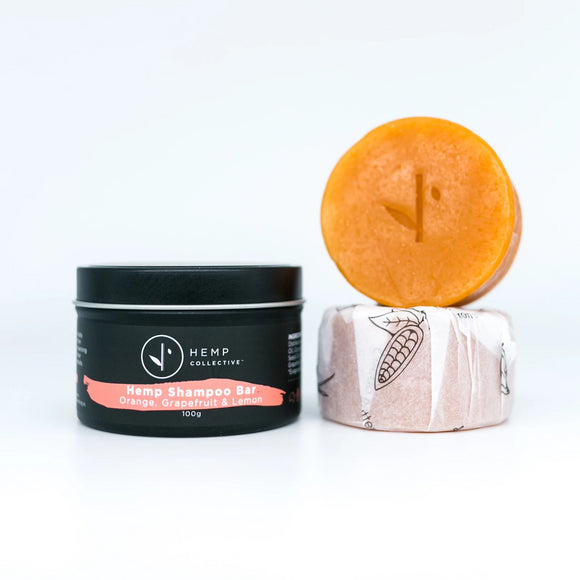 Hemp Collective Shampoo Bar- Orange, Grapefruit & Lemon with Tin