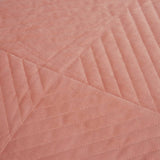 Merida Velvet Quilted Coverlet with 2 Pillow Cases 240x260cm Clay Pink