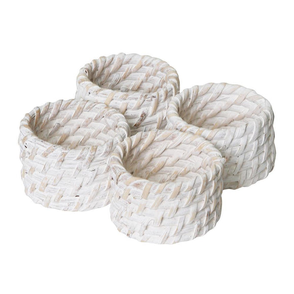 Pacifica Rattan Napkin Ring Set of 4 White Wash