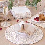 Pacifica Rattan Coaster Set of 6 with Holder