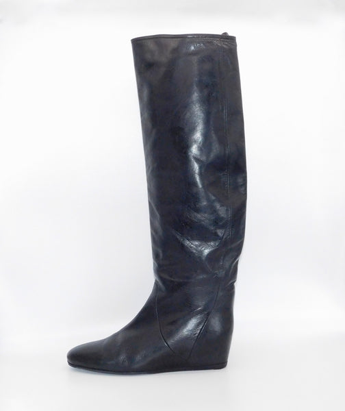 LANVIN PARIS Black Leather Wedge Heel Tall Boots Size 38