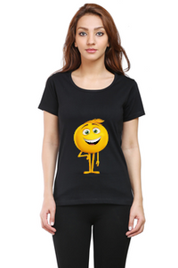 Emoticon3 Round Neck Half Sleeve Premium Cotton Women's printed T-shirt Black