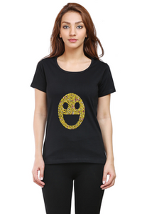Emoticon6 Round Neck Half Sleeve Premium Cotton Women's printed T-shirt Black