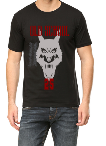 Old school Wolf printed on Mens round neck half sleeves Black