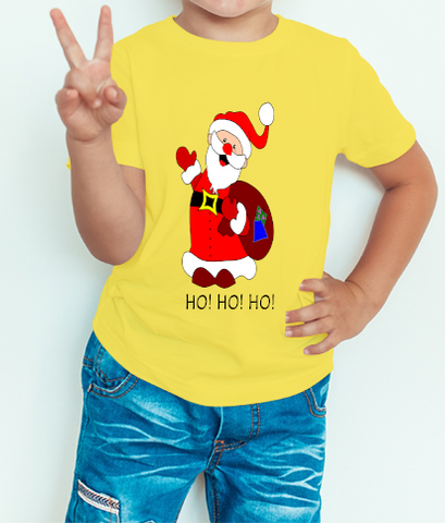 Boy's T-shirt Santa Printed Yellow