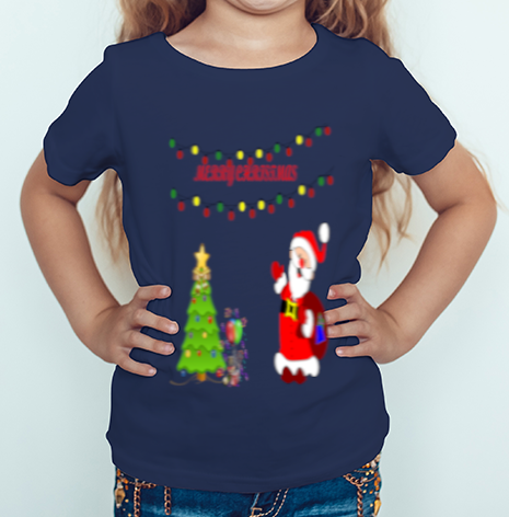 Merry Christmas With Image printed Round Neck Half Sleeve Cotton Girl's T-shirt Navy Blue