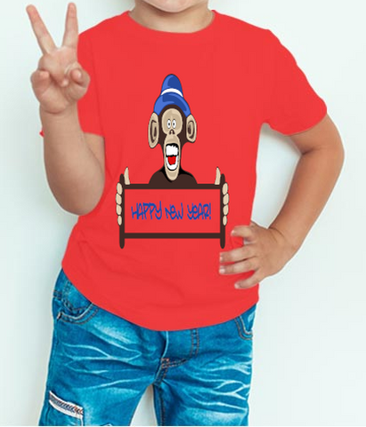 Boy's T-shirt Happy New Year With Funny Monkey Printed Red