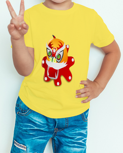 Boy's T-shirt Dragon Printed Yellow