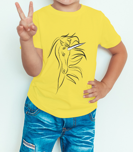 Boy's T-shirt Horse Printed Yellow