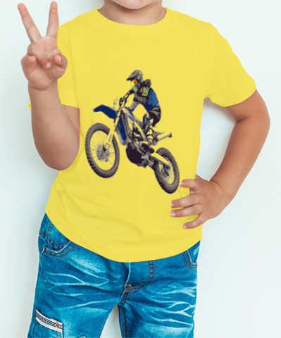 Boy's T-shirt Motorcycle Printed Yellow