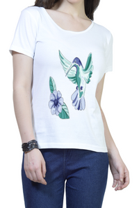 Hummingbird Round Neck Half Sleeve Premium Cotton Women's printed T-shirt White