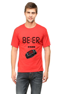 Beer O clock printed Men's Round Neck Half Sleeve Cotton T-shirt Red