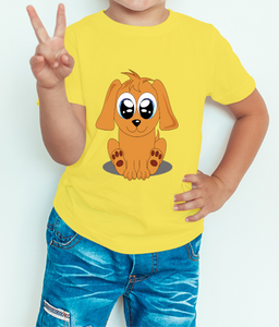 Boy's T-shirt  Puppy Printed Yellow