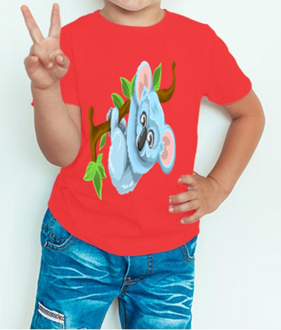 Boy's T-shirt  Koala on tree Printed Red