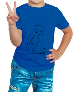 Boy's T-shirt Dog Printed Blue