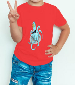 Boy's T-shirt Octopus Printed Red