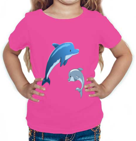 Dolphine printed Round Neck Half Sleeve Cotton Girl's T-shirt Pink
