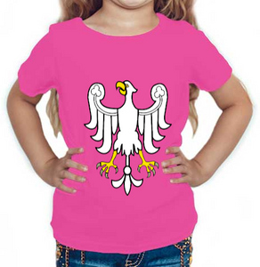 Eagle printed Round Neck Half Sleeve Cotton Girl's T-shirt Pink