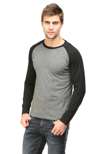Men's Raglan full sleeves Premium Black Charcoal Melange