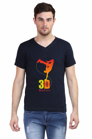 3D Motion printed T1trendze Premium V-Neck Half Sleeve Men's T-shirt