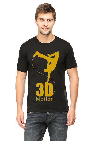 T1trendze Premium 3d gold Logo printed Round Neck Half Sleeve Cotton Men's T-shirt