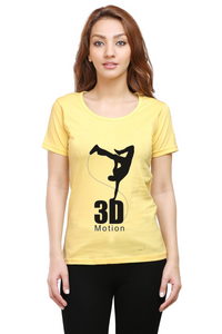 3D Black logo Round Neck Half Sleeve Premium Cotton Women's printed T-shirt Yellow