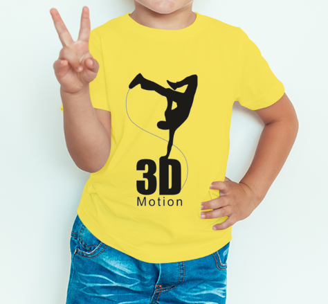 Boy's T-shirt 3D black logo printed on yellow