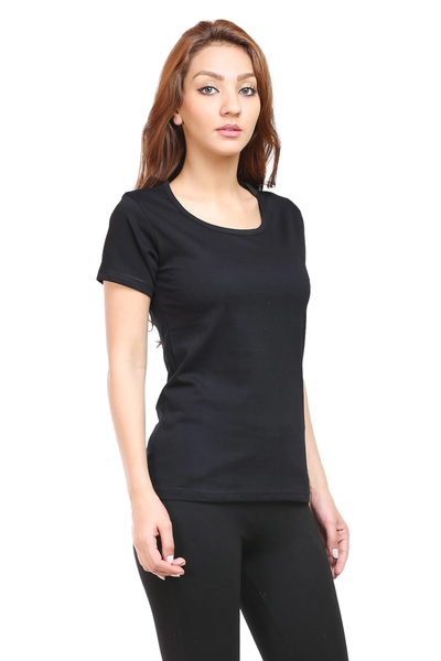 Women's Round Neck Half Sleeve Plain Premium Cotton T-shirt Black