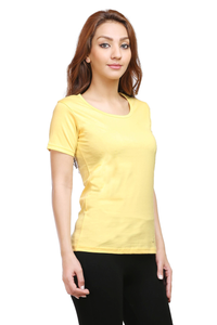 Women's Round Neck Half Sleeve Plain Premium Cotton T-shirt Yellow