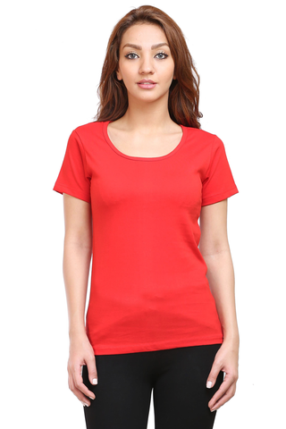 Women's Round Neck Half Sleeve Plain Premium Cotton T-shirt Red