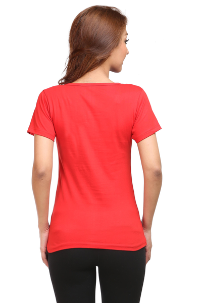 Santa clause penguin Round Neck Half Sleeve Premium Cotton Women's printed T-shirt Red