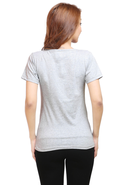 Women's Round Neck Half Sleeve Plain Premium Cotton T-shirt Grey Melange