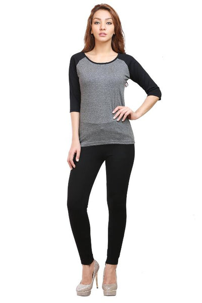 Women's Raglan full sleeves Premium Black Charcoal Melange