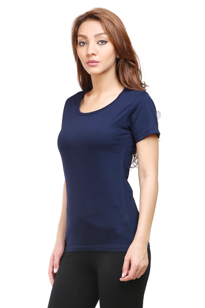 Women's Round Neck Half Sleeve Plain Premium Cotton T-shirt Navy Blue