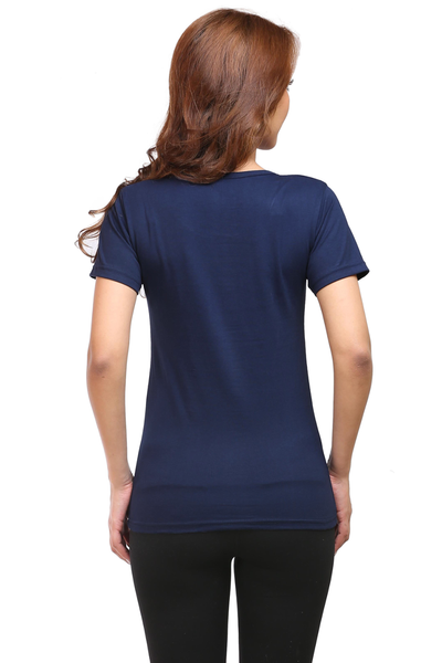 I love newyork Round Neck Half Sleeve Premium Cotton Women's printed T-shirt Navy blue