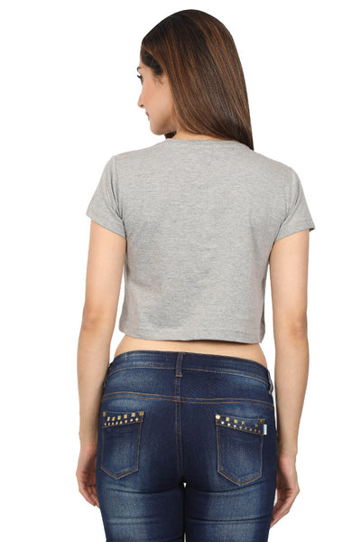 The good old days printed Women's crop top half sleeve Grey Melange