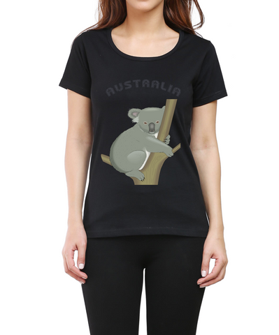 Australia koala Round Neck Half Sleeve Premium Cotton Women's printed T-shirt Black