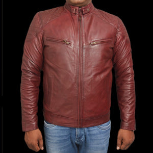T1trendze Leather Jacket Red wood