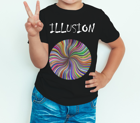 Boy's T-shirt Illusion Printed Black