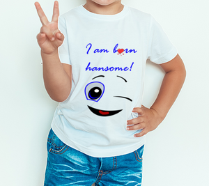 Boy's T-shirt I'm born handsome Printed white