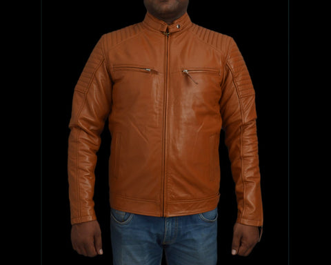 T1trendze Leather Jacket Brown LJ03