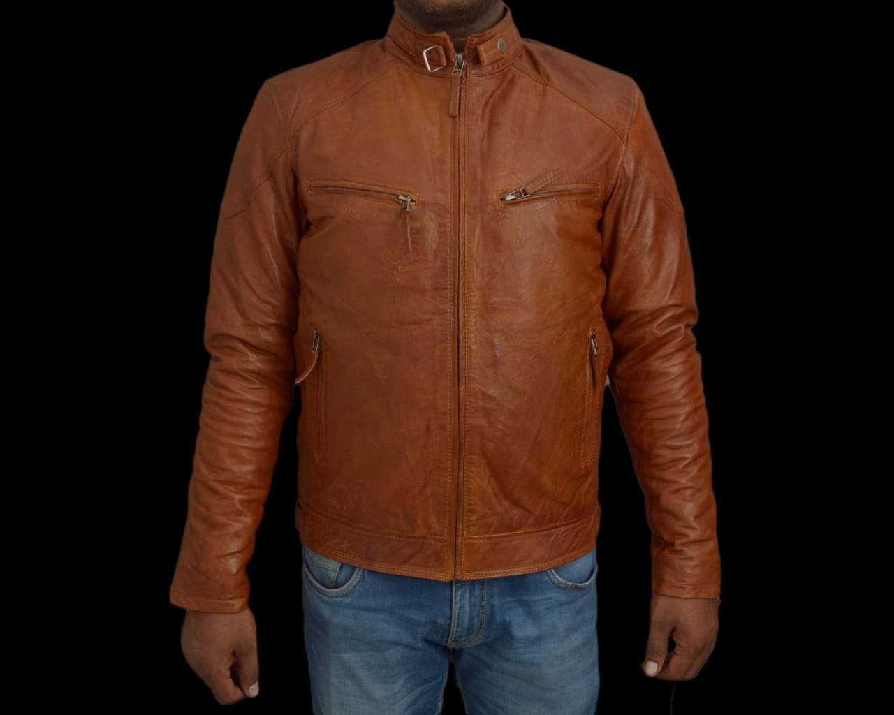 T1trendze Leather Jacket Brown LJ04